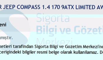 4X4 JEEP COMPASS 1.4 LIMITED OTOMATİK dolu